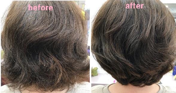 くせ毛カットを施した写真before&after